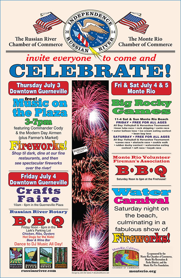 Guerneville, fireworks 2014, Russian River, Hotel