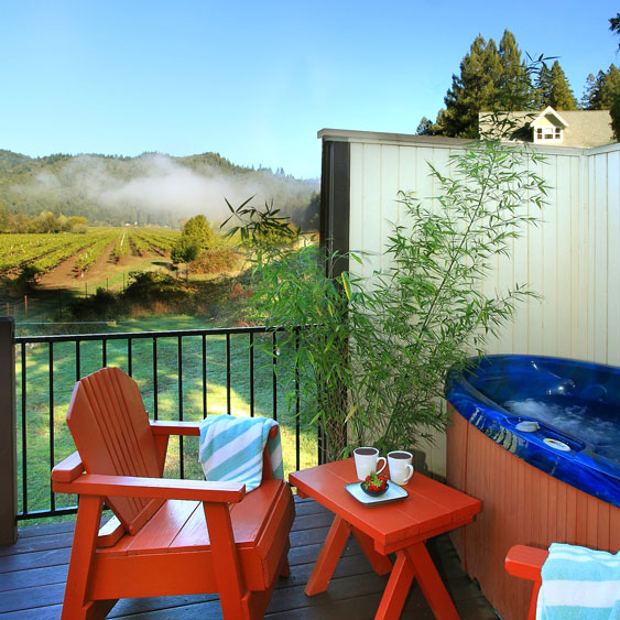 West Sonoma Inn and Spa, Russian River resort in Guerneville features majestic redwoods, vineyard views. Close to Korbel, Armstrong Redwoods, Sonoma Wine Country, Occidental, Sebastopol, Healdsburg, Bodega Bay and the Pacific coast.